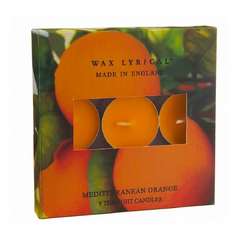 Mediterranean Orange TEALIGHTS Made In England Scented Candles Wax Lyrical (Pack of 9)